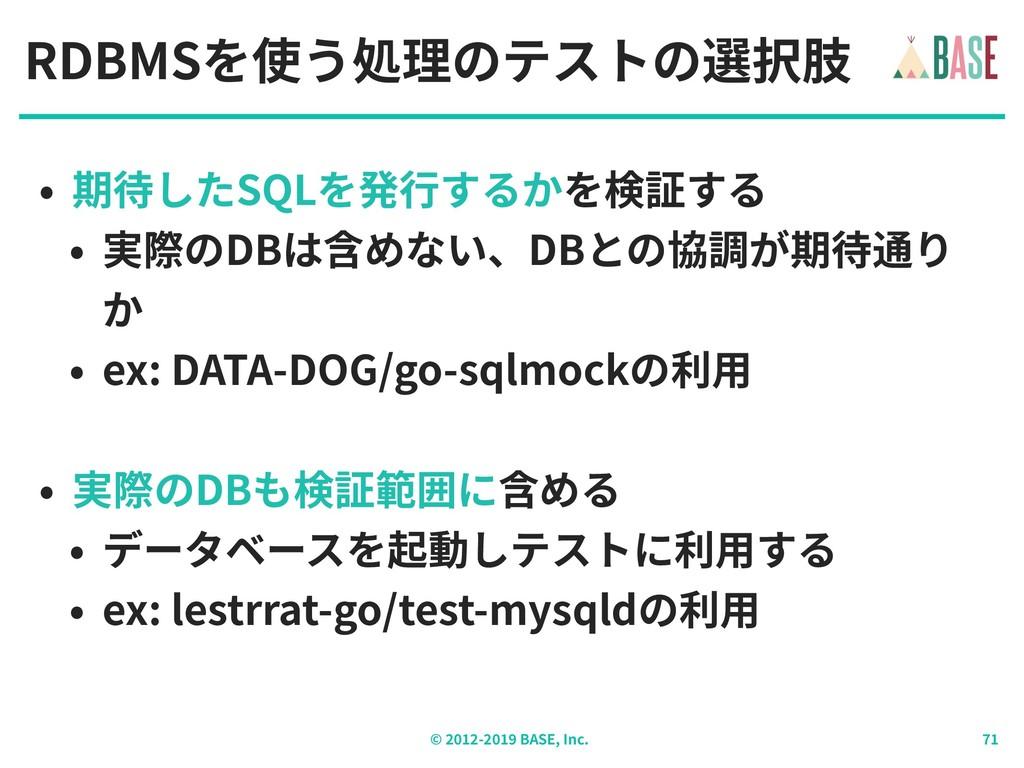 © - BASE, Inc. RDBMSを使う処理のテストの選択肢 • 期待したSQLを発⾏す...