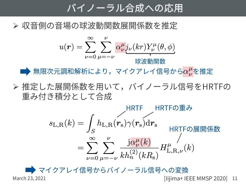 バイノーラル合成への応⽤ Ø 収⾳側の⾳場の球波動関数展開係数を推定 Ø 推定した展開係数を⽤...