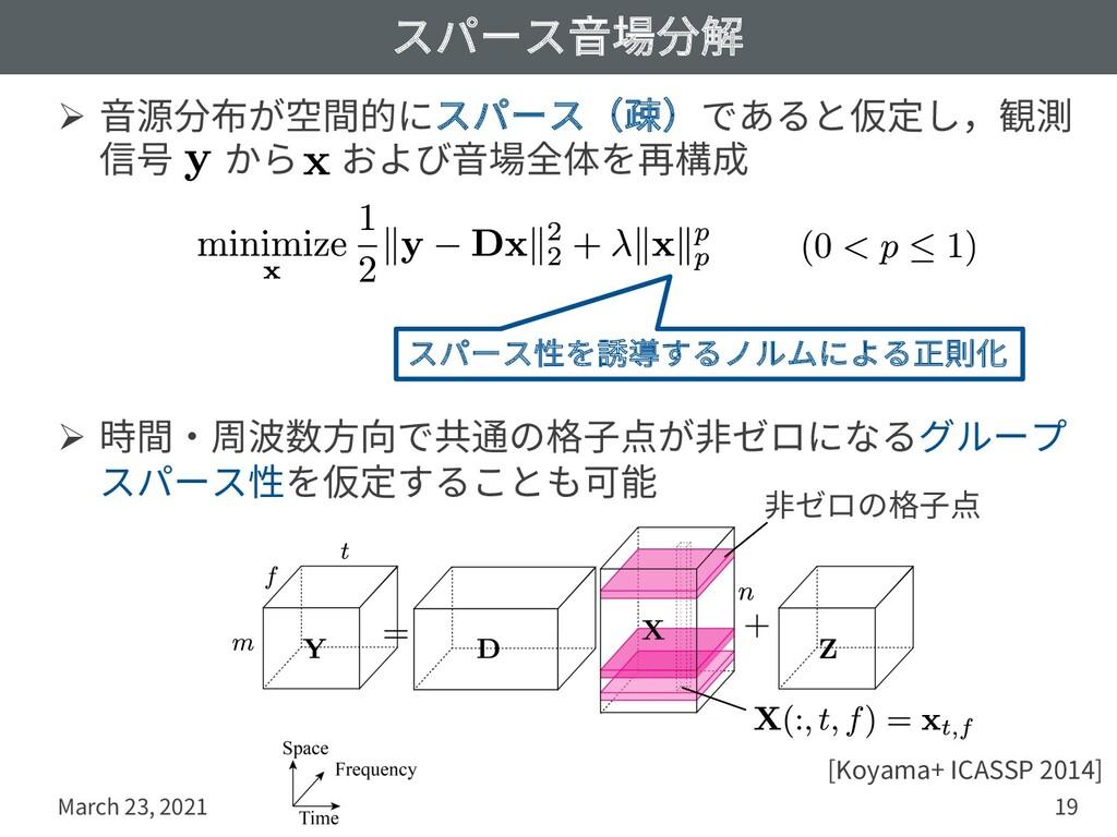 スパース⾳場分解 Ø ⾳源分布が空間的にスパース(疎)であると仮定し,観測 信号 から および...