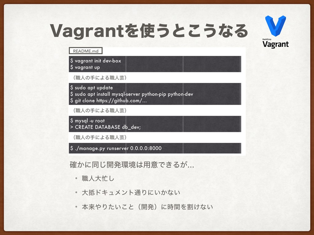 7BHSBOUΛ࢖͏ͱ͜͏ͳΔ $ vagrant init dev-box $ vagran...