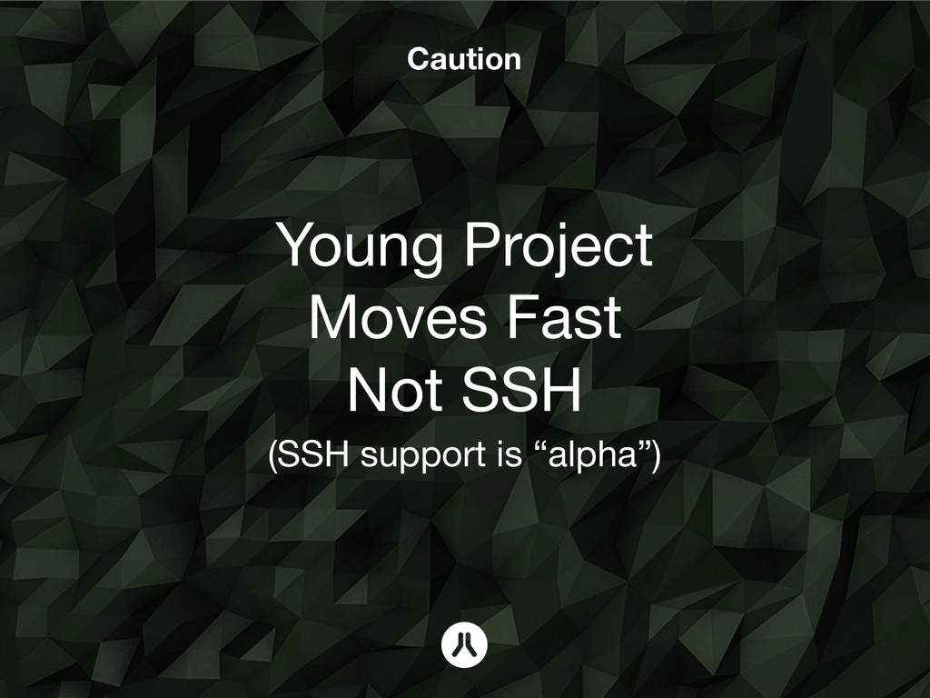 Caution Young Project Moves Fast Not SSH 