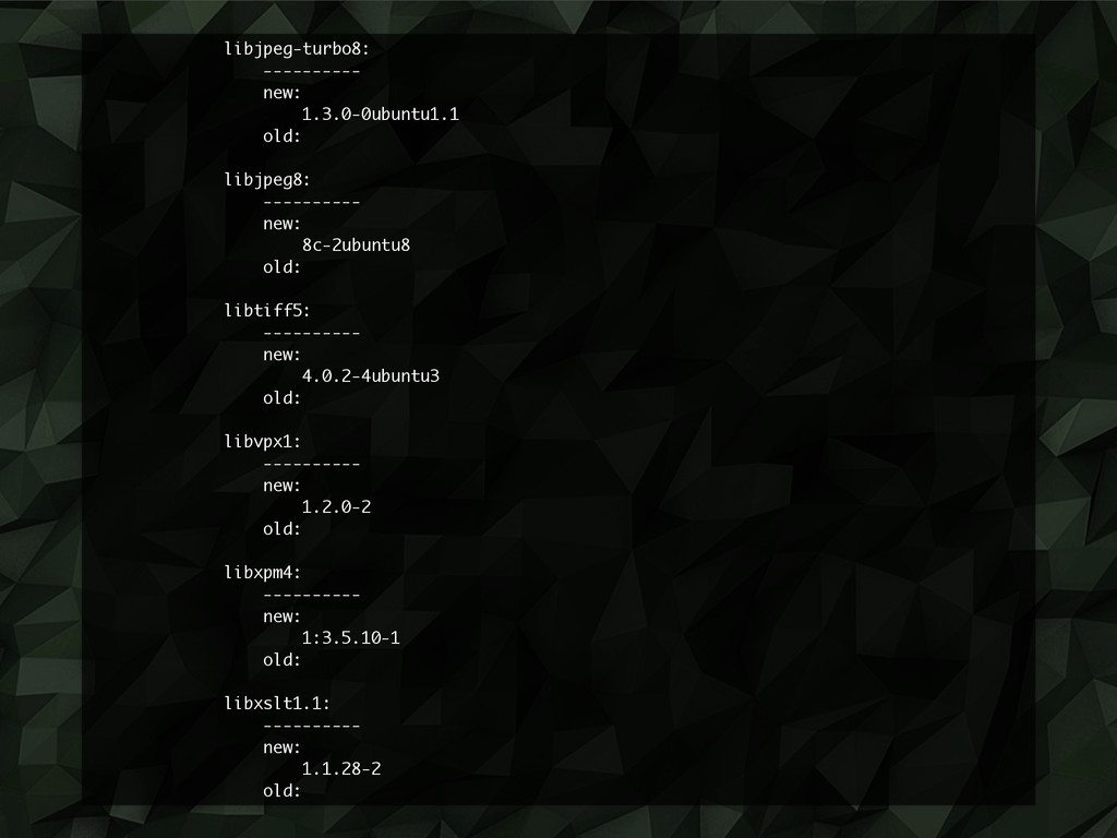 libjpeg-turbo8: ---------- new: 1.3.0-0ubuntu1....