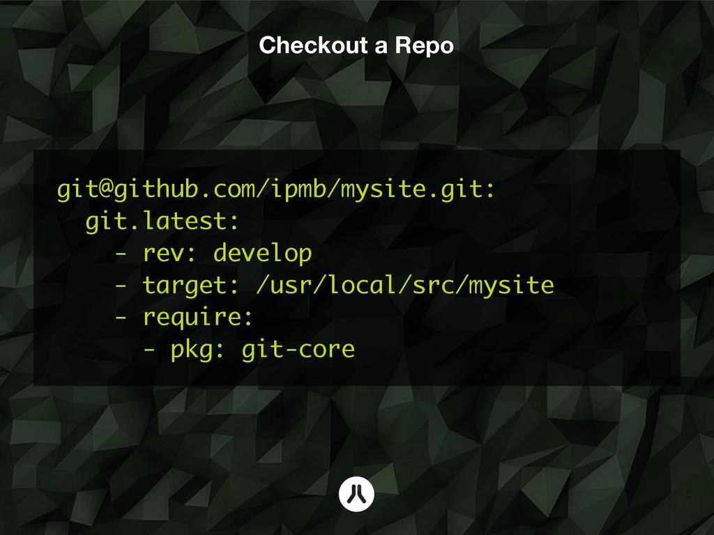 Checkout a Repo git@github.com/ipmb/mysite.git:...