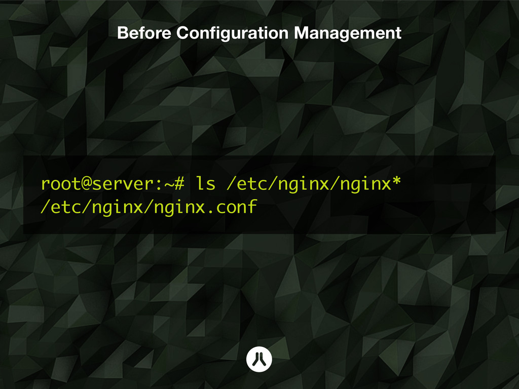 Before Configuration Management root@server:~# l...