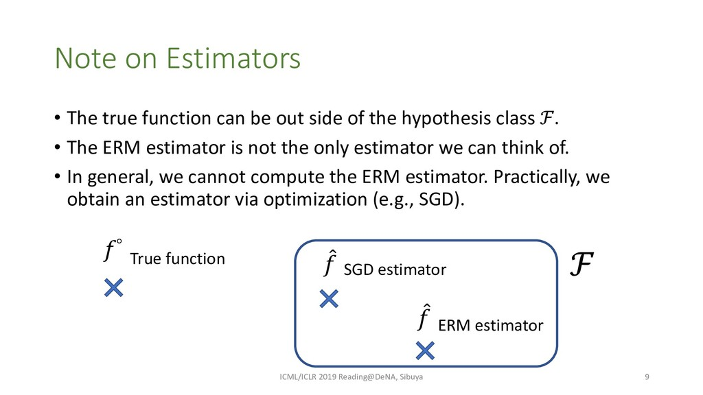 Note on Estimators • The true function can be o...