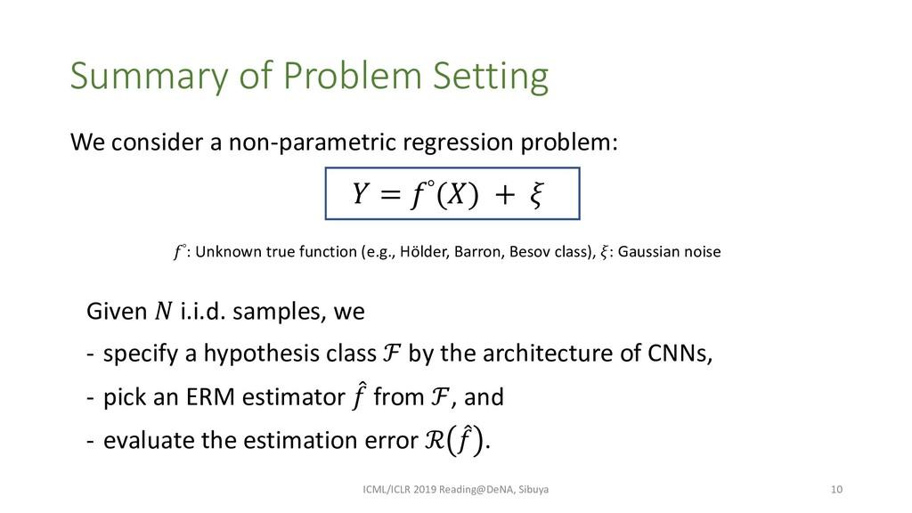 Summary of Problem Setting ICML/ICLR 2019 Readi...
