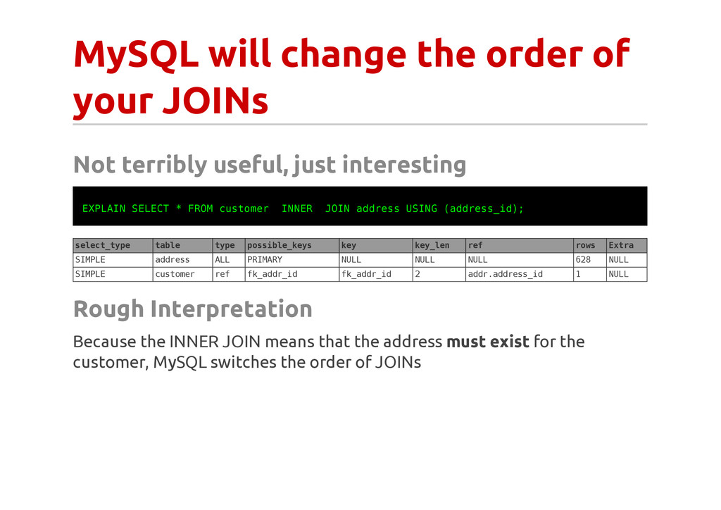 MySQL will change the order of your JOINs Not t...