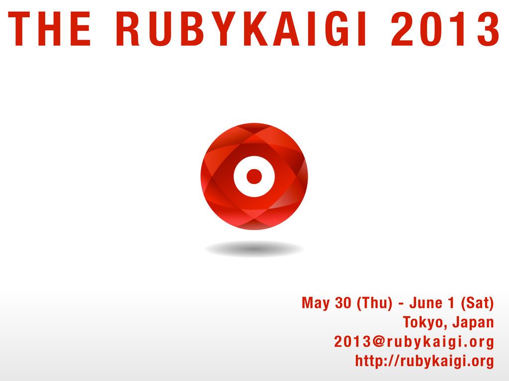 THE RUBYKAIGI 2013 May 30 (Thu) - June 1 (Sat) ...