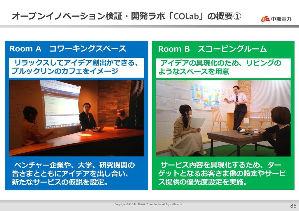 オープンイノベーション検証・開発ラボ「COLab」の概要① Room A コワーキングスペース...