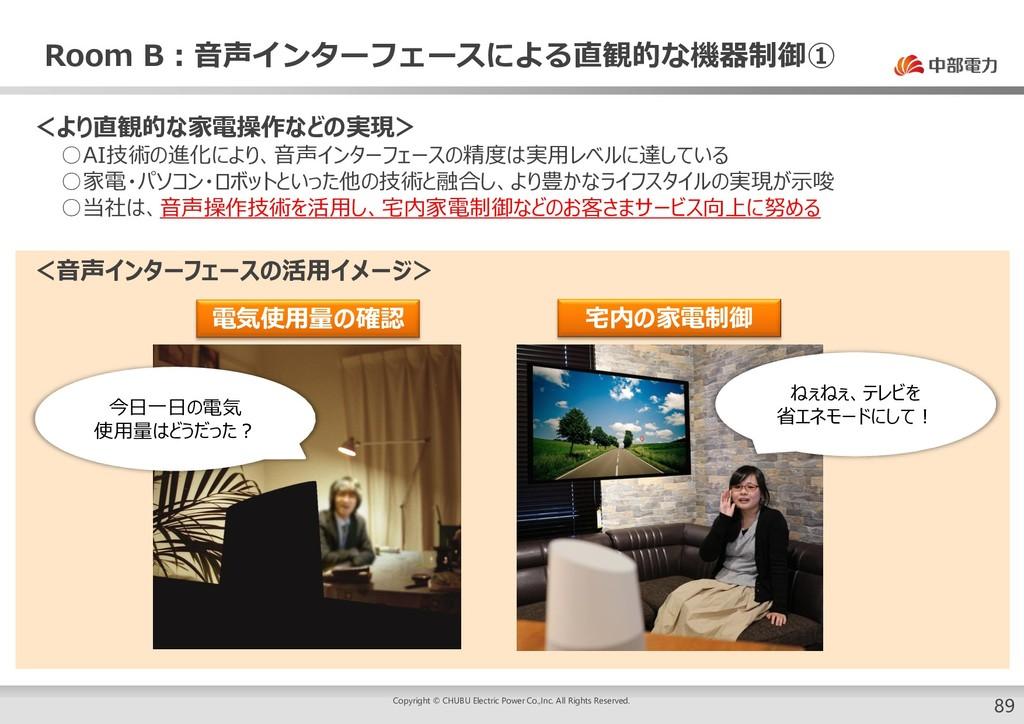 Room B:音声インターフェースによる直観的な機器制御① 89 <より直観的な家電操作などの...