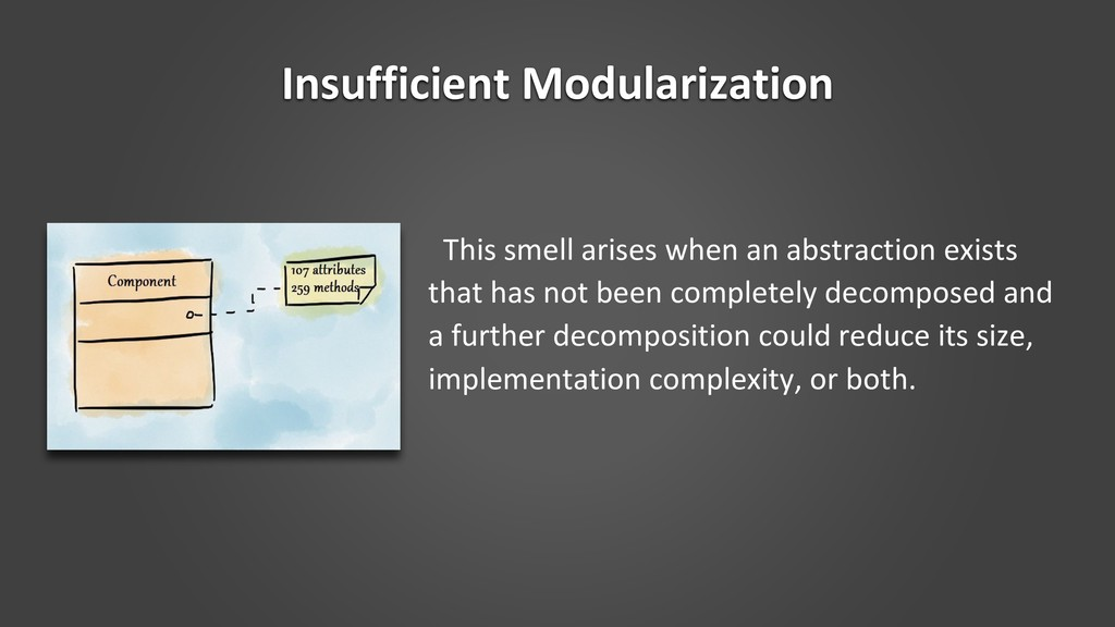 Insufficient Modularization This smell arises w...