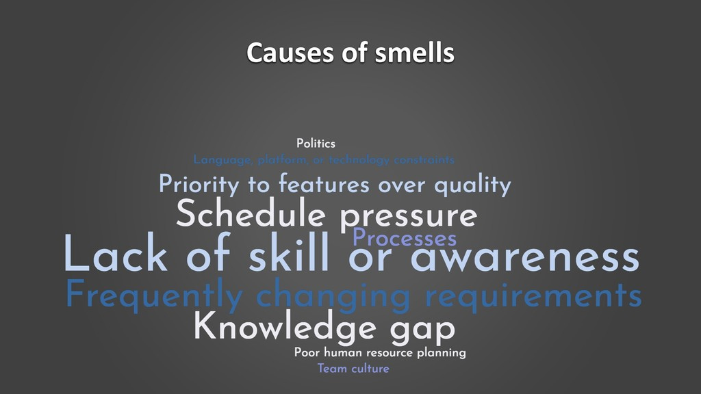 Causes of smells