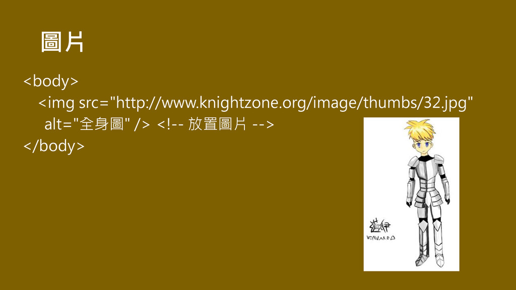 "圖片 <body> <img src=""http://www.knightzone.org/i..."