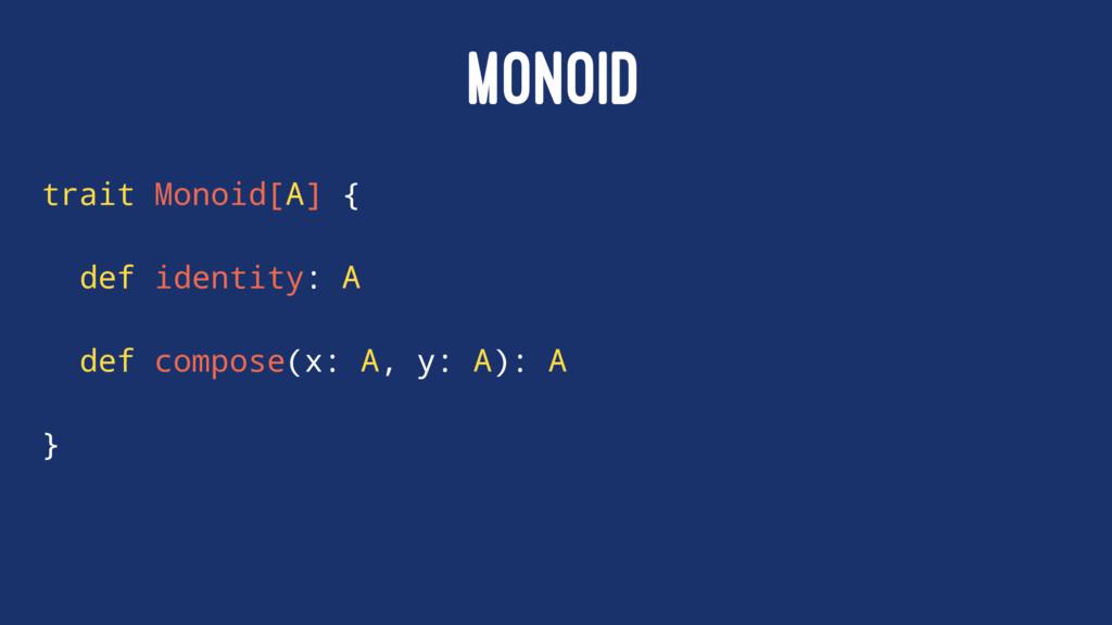 MONOID trait Monoid[A] { def identity: A def co...