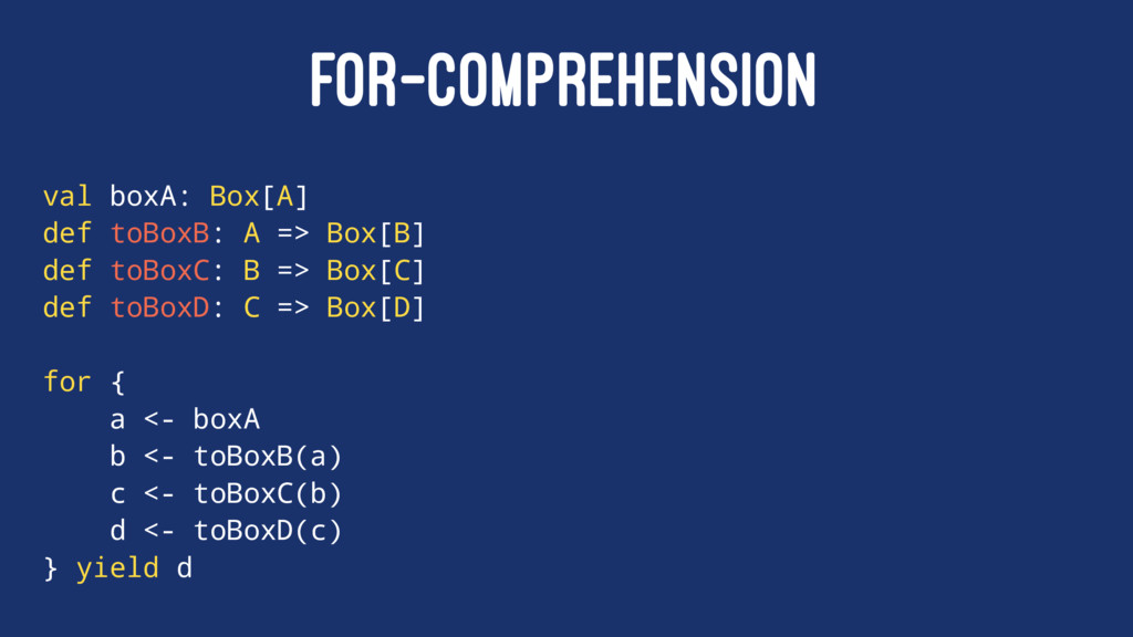 FOR-COMPREHENSION val boxA: Box[A] def toBoxB: ...