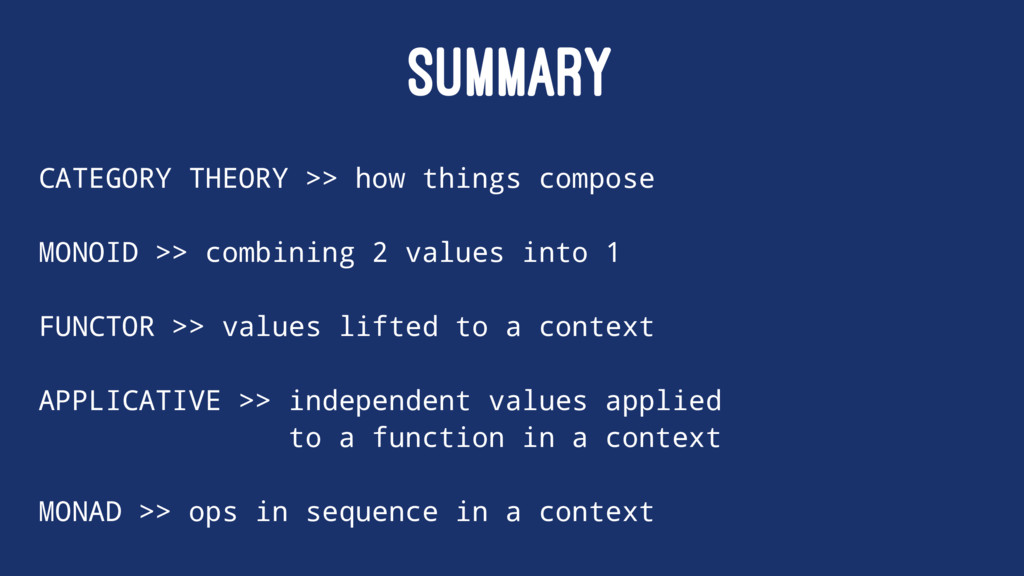 SUMMARY CATEGORY THEORY >> how things compose M...