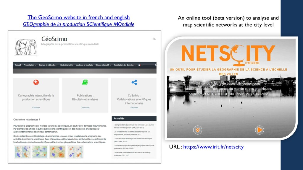 The GeoScimo website in french and english GEOg...
