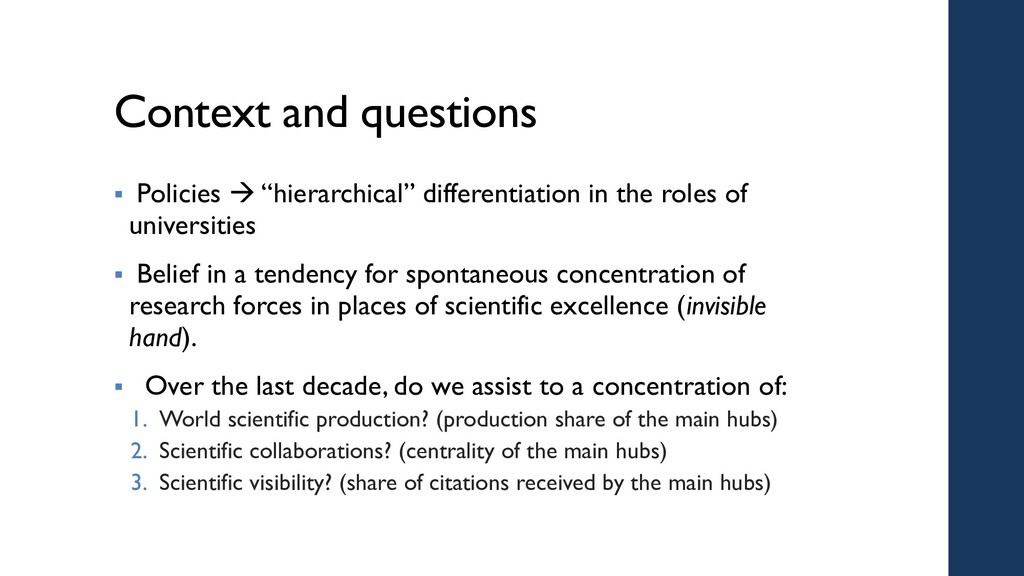 """Context and questions  Policies  """"hierarchica..."""