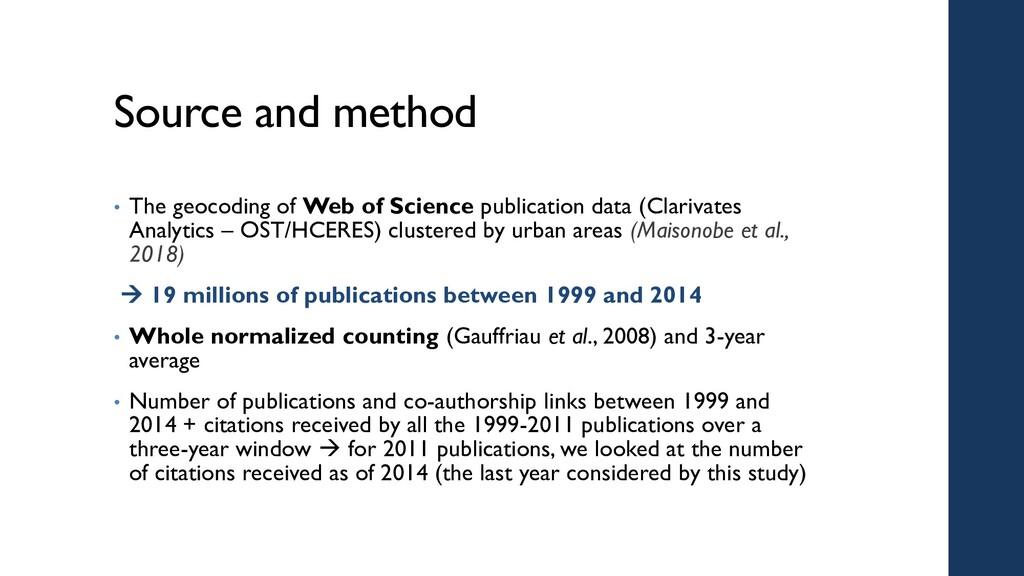 Source and method • The geocoding of Web of Sci...