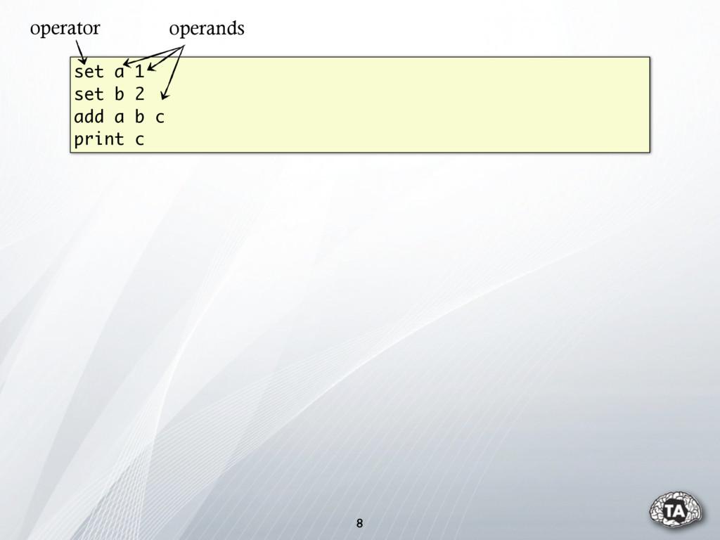 8 set a 1 set b 2 add a b c print c operator op...