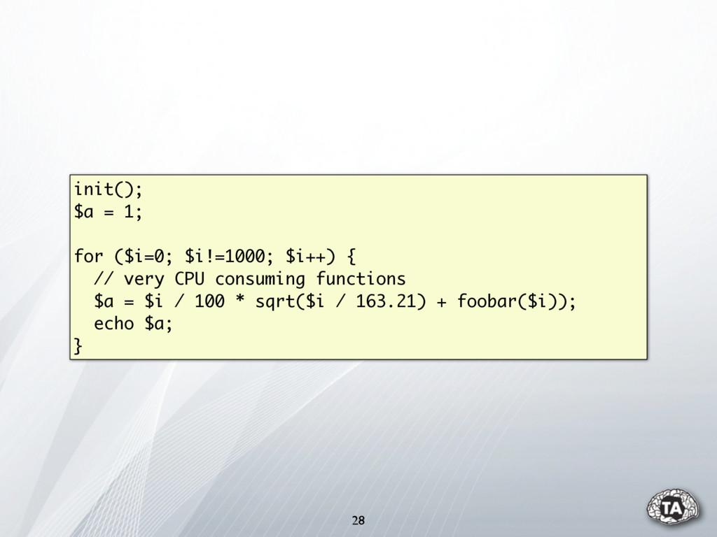 init(); $a = 1; for ($i=0; $i!=1000; $i++) { //...
