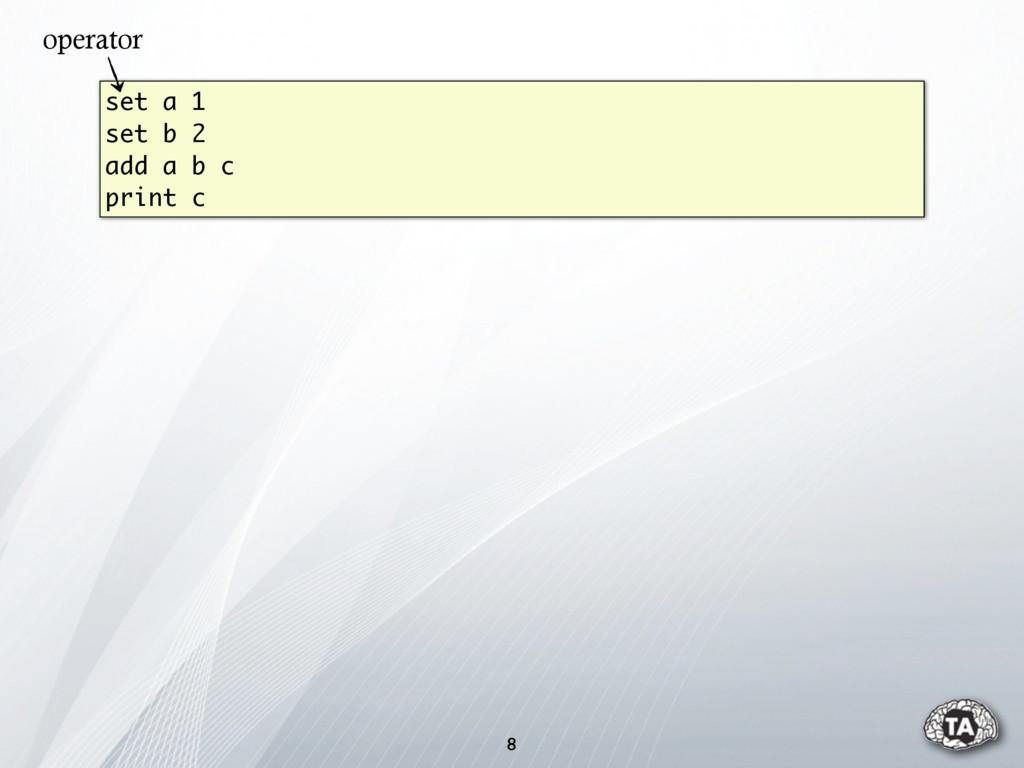 8 set a 1 set b 2 add a b c print c operator