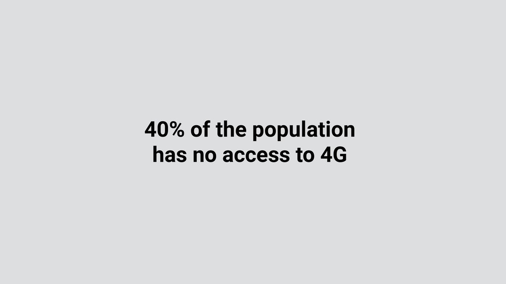 40% of the population has no access to 4G
