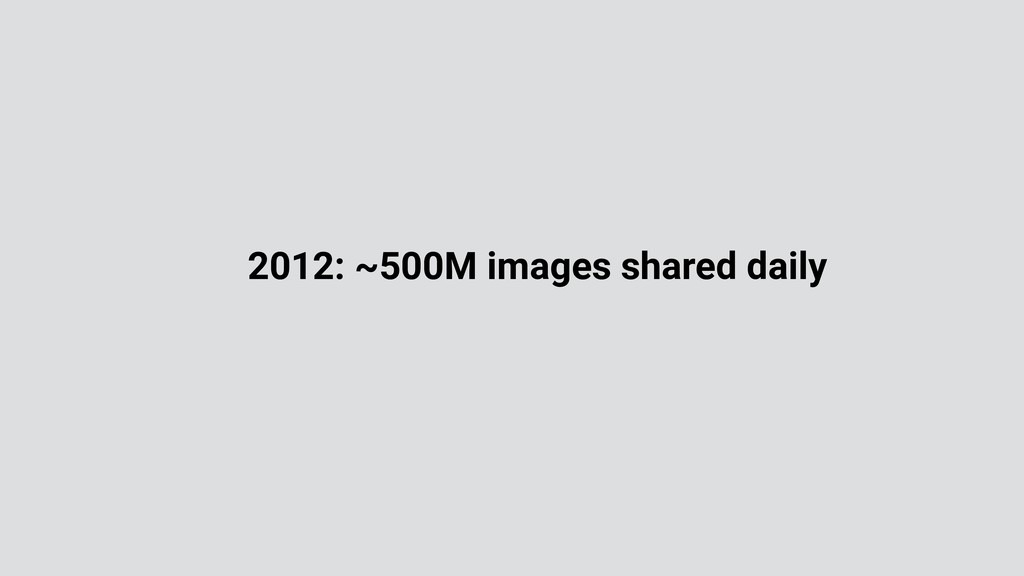 2012: ~500M images shared daily