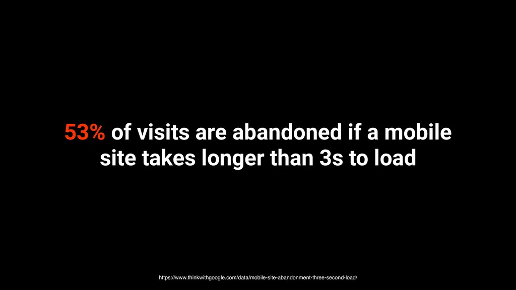 53% of visits are abandoned if a mobile site ta...