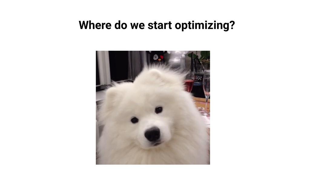 Where do we start optimizing?