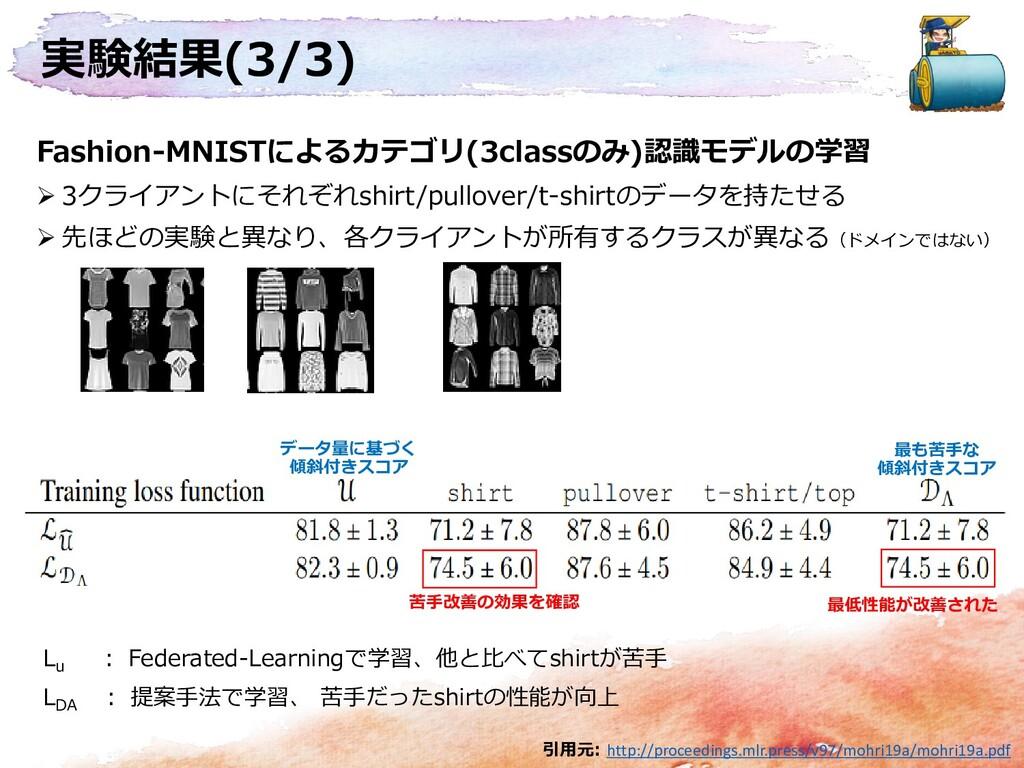 実験結果(3/3) Fashion-MNISTによるカテゴリ(3classのみ)認識モデルの学...