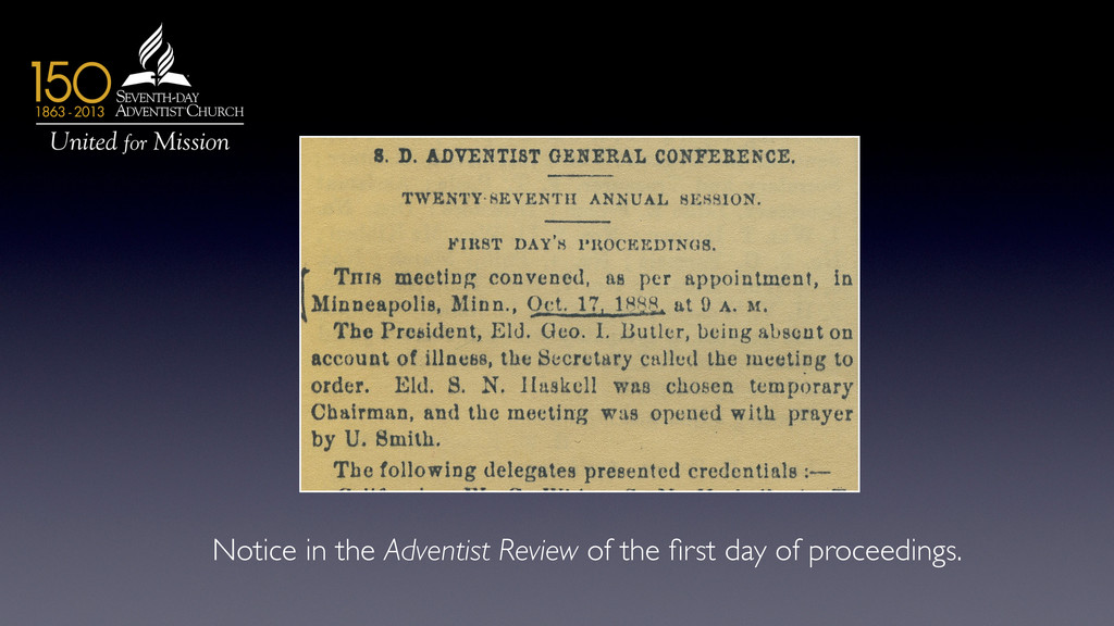 Notice in the Adventist Review of the first day ...