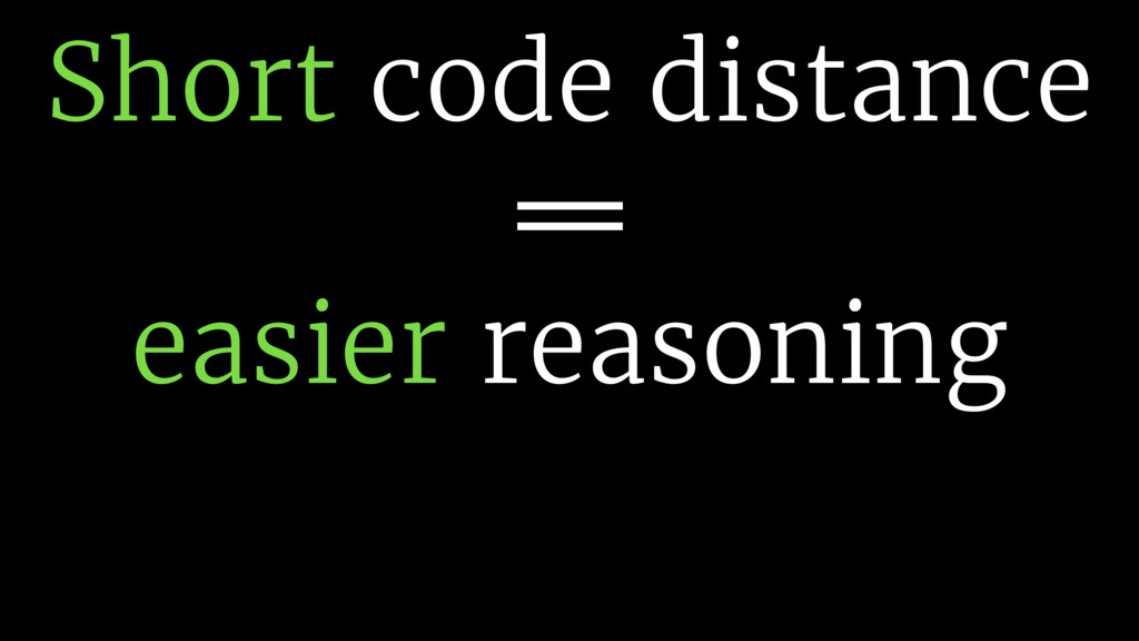 Short code distance !== easier reasoning