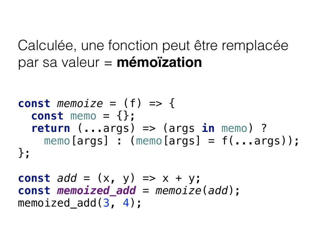 Calculée, une fonction peut être remplacée par ...