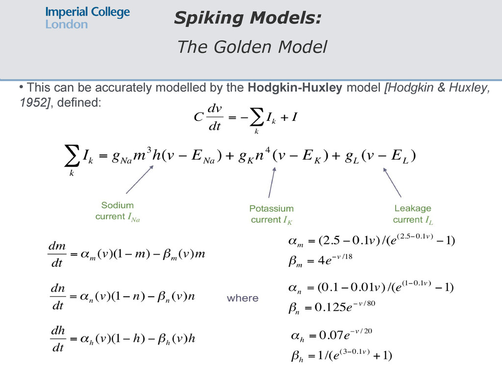 Spiking Models: The Golden Model ● This can be ...