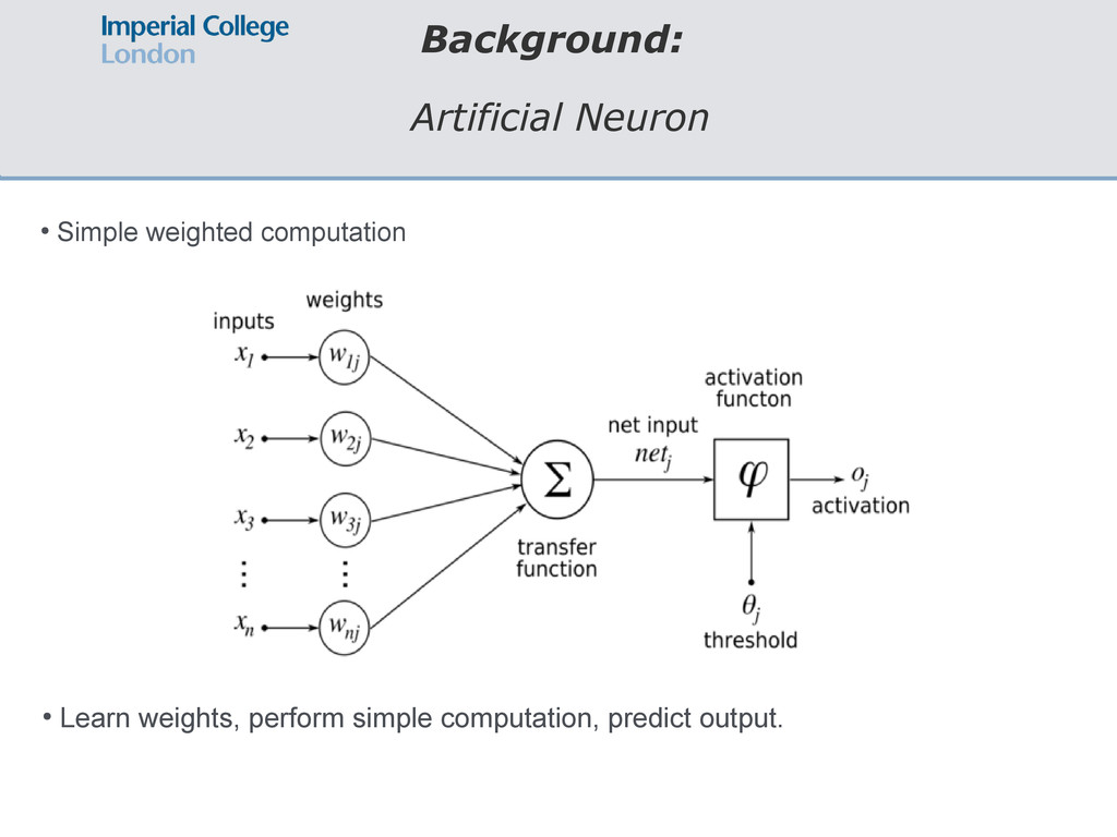 Background: Artificial Neuron ● Simple weighted...