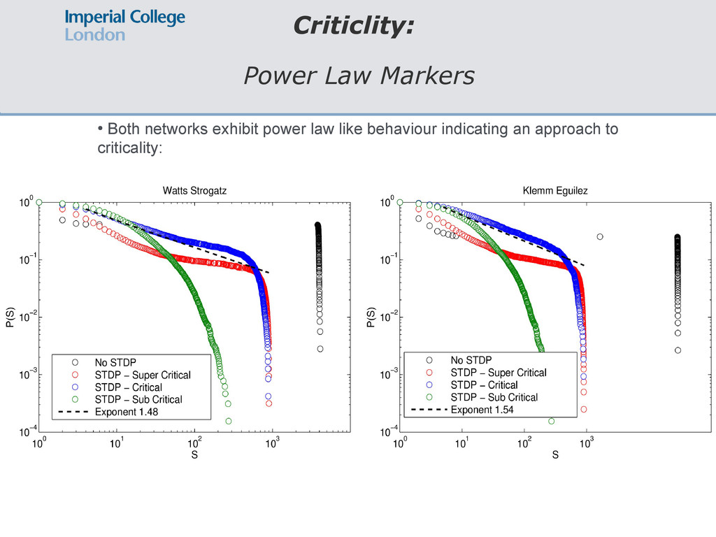 Criticlity: Power Law Markers ● Both networks e...