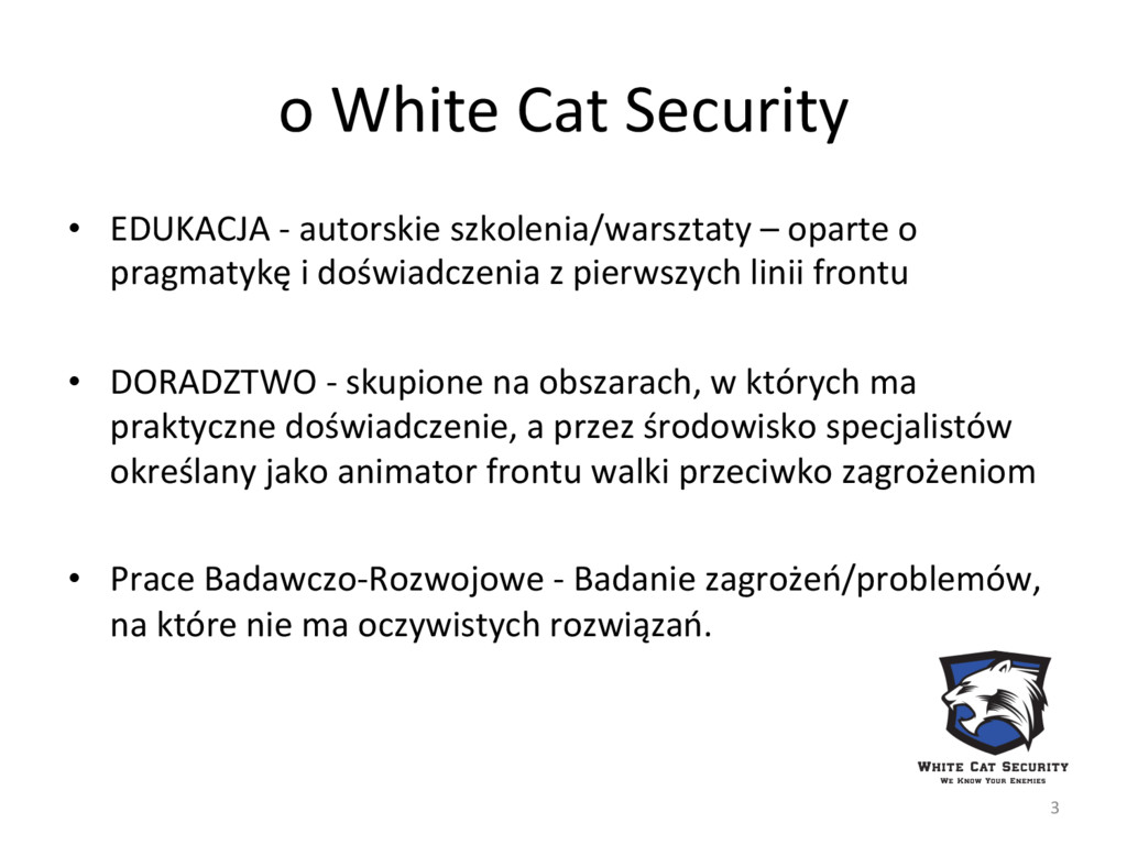 o White Cat Security  • EDUKACJA...