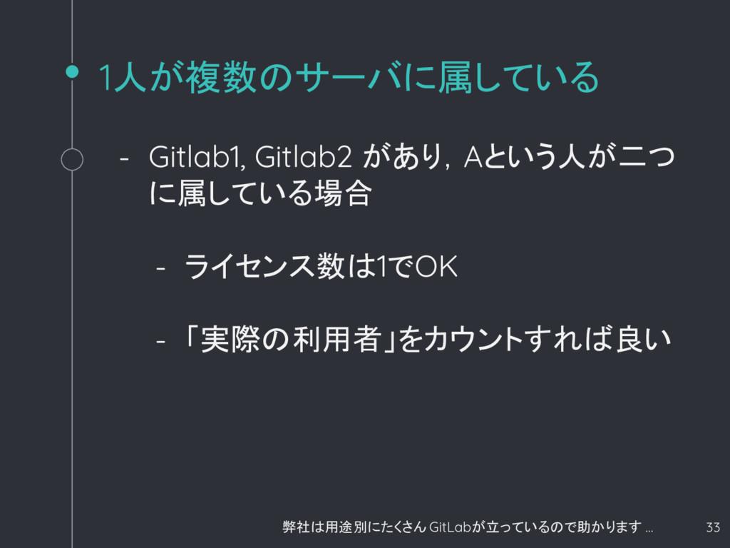 1人が複数のサーバに属している - Gitlab1, Gitlab2 があり,Aという人が二つ...