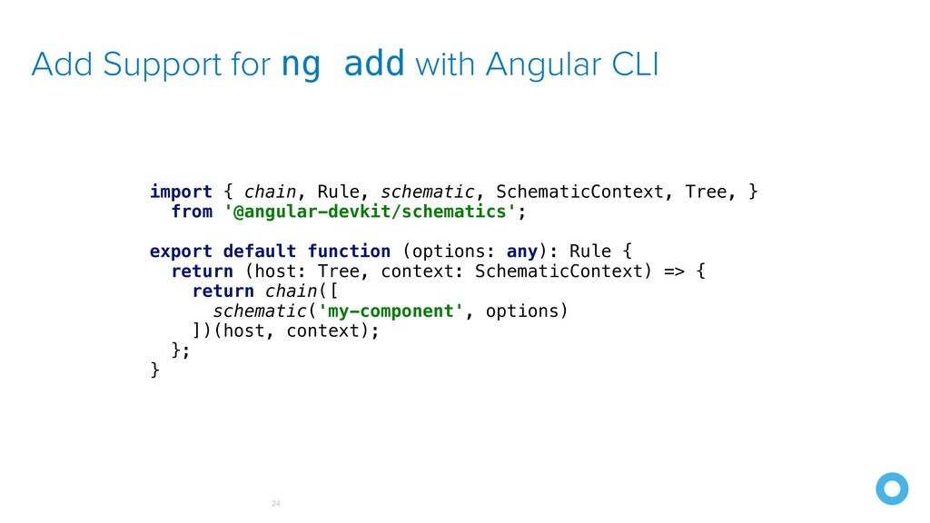 Add Support for ng add with Angular CLI 24 impo...