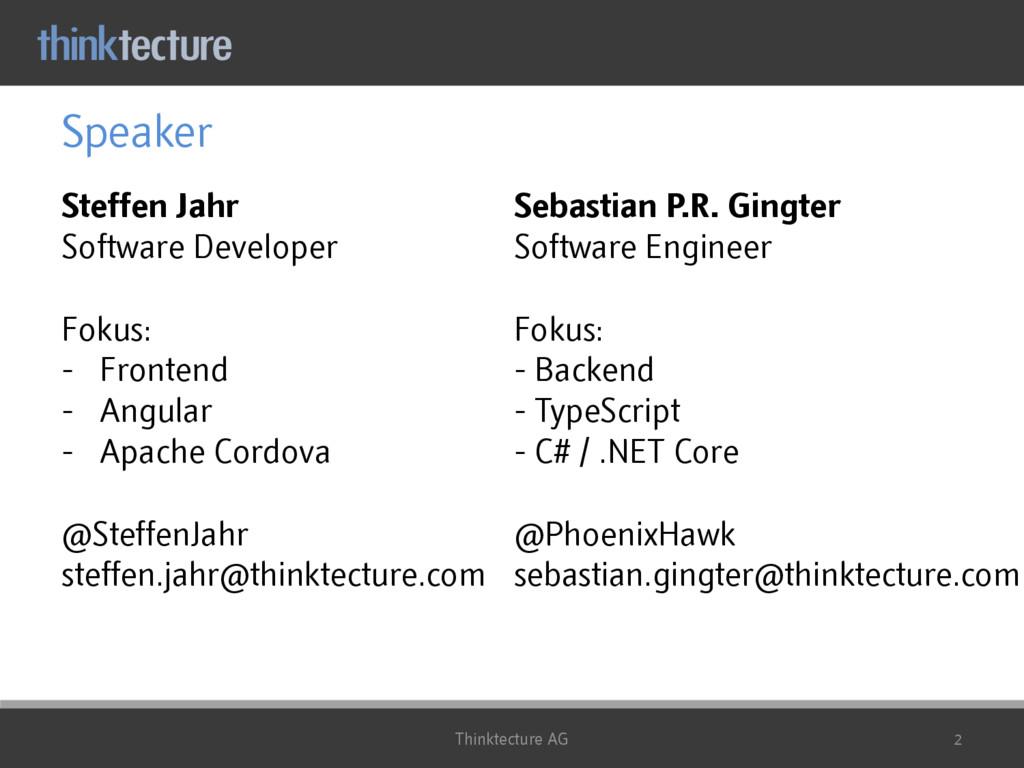 Speaker Steffen Jahr Software Developer Fokus: ...