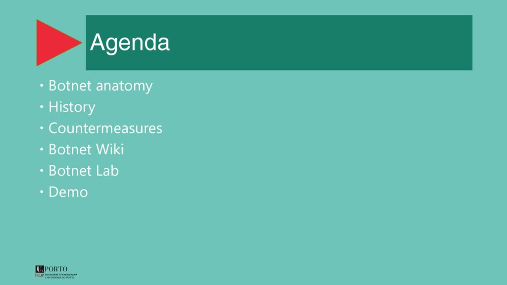 Agenda  Botnet anatomy  History  Countermeas...