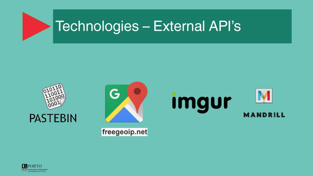 Technologies – External API's