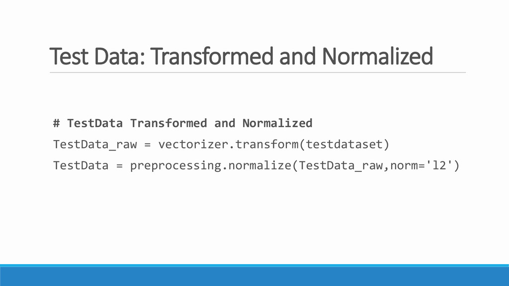 Test Data: Transformed and Normalized # TestDat...