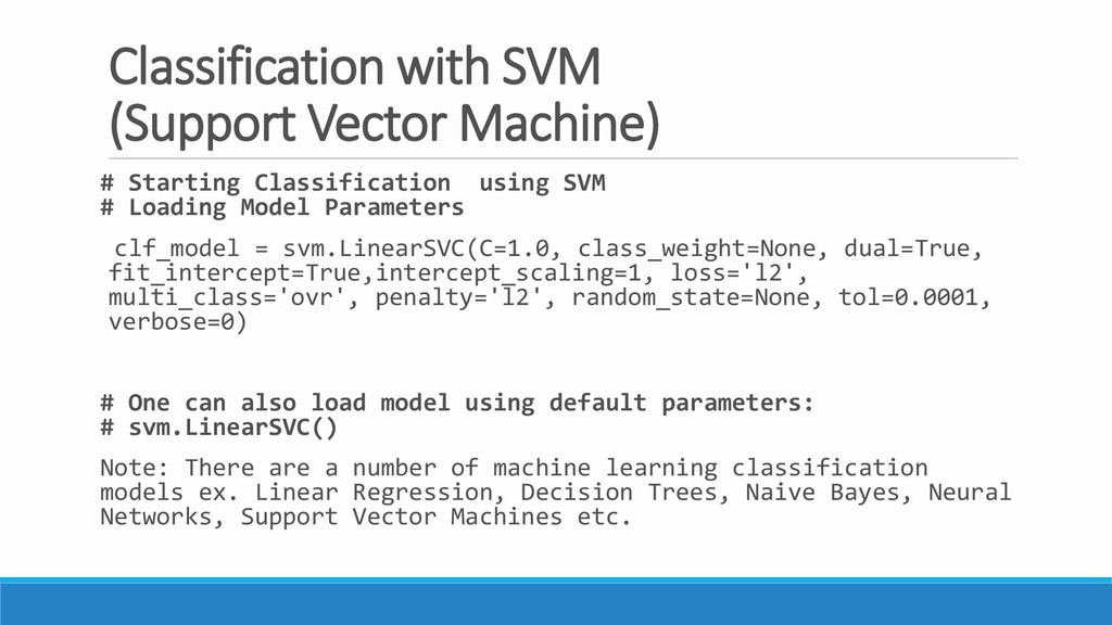 Classification with SVM (Support Vector Machine...