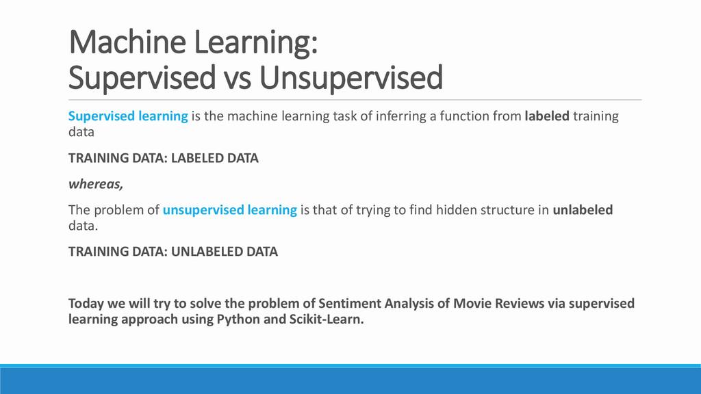 Machine Learning: Supervised vs Unsupervised Su...