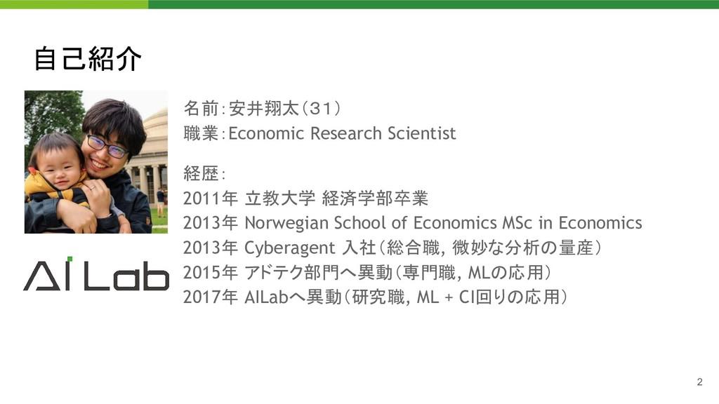 自己紹介 名前:安井翔太(31) 職業:Economic Research Scientis...