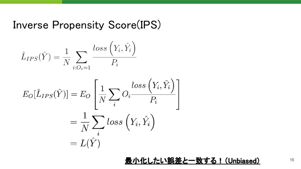 Inverse Propensity Score(IPS) 最小化したい誤差と一致する!(U...