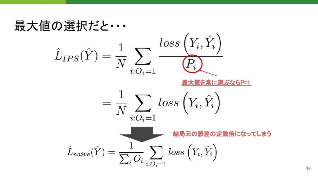 最大値の選択だと・・・ 18 最大値を常に選ぶならP=1  結局元の誤差の定数倍になってし...