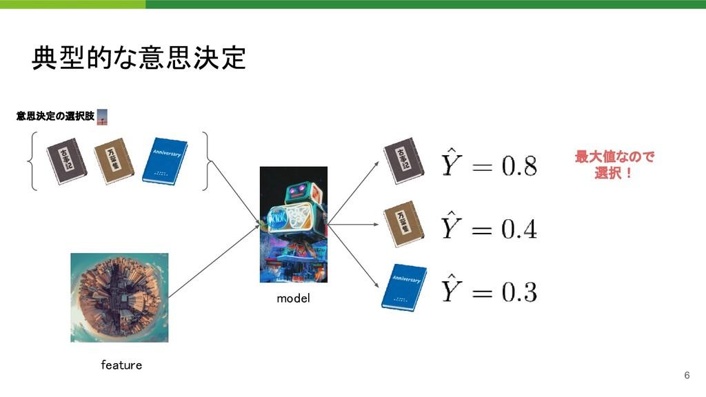 典型的な意思決定 model 意思決定の選択肢 feature 最大値なので 選択!...